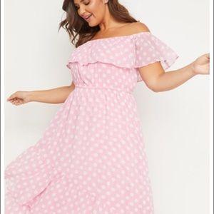 Lane Bryant Pink polka dot off the shoulder dress